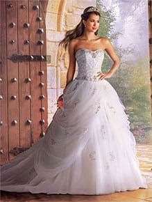 A Princess Wedding Gown With Embroidery Strapless Neckline Dropped Waist And Ball