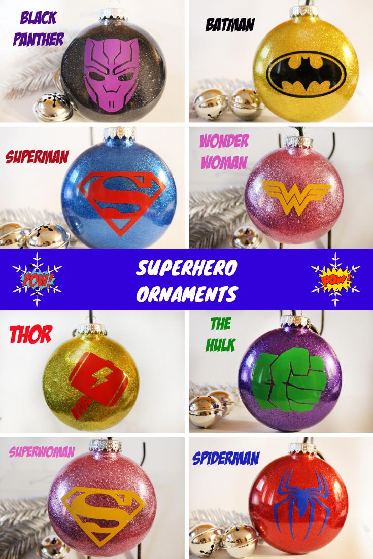 Superhero Glitter Ornaments #superherogifts