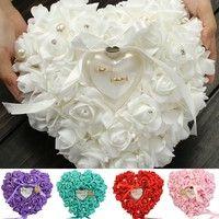 Wish | Romantic Single-layer Rose Wedding Heart Shaped Gift Ring Box Pillow LUN