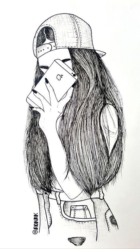 Крутые картинки девочек нарисованные карандашом, подруге