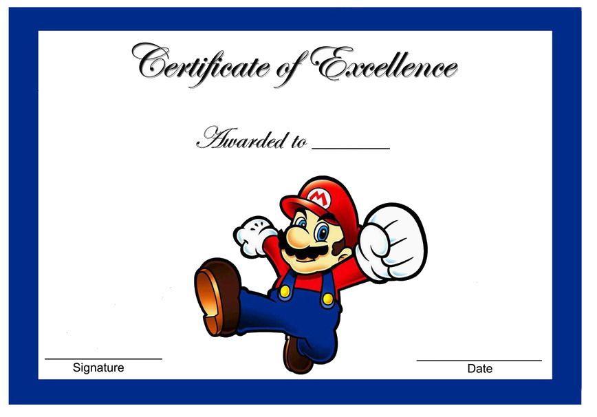 Super Mario Awards | Themed Award Certificates - FREE ...