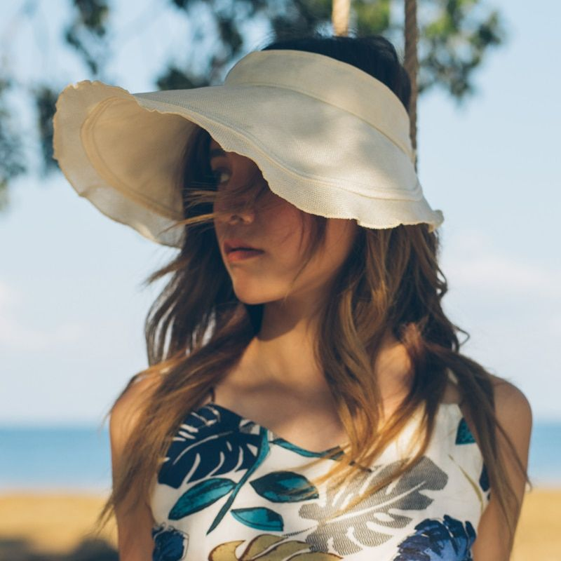 3fa81f18 dropshipping New Spring Summer Visors Cap Foldable Wide Large Brim Sun Hat  Beach Hats for Women