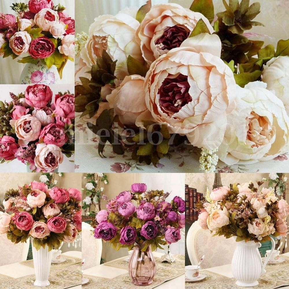 1 Bouquet Artificial Peony Silk Flowers Bridal Hydrangea Wedding