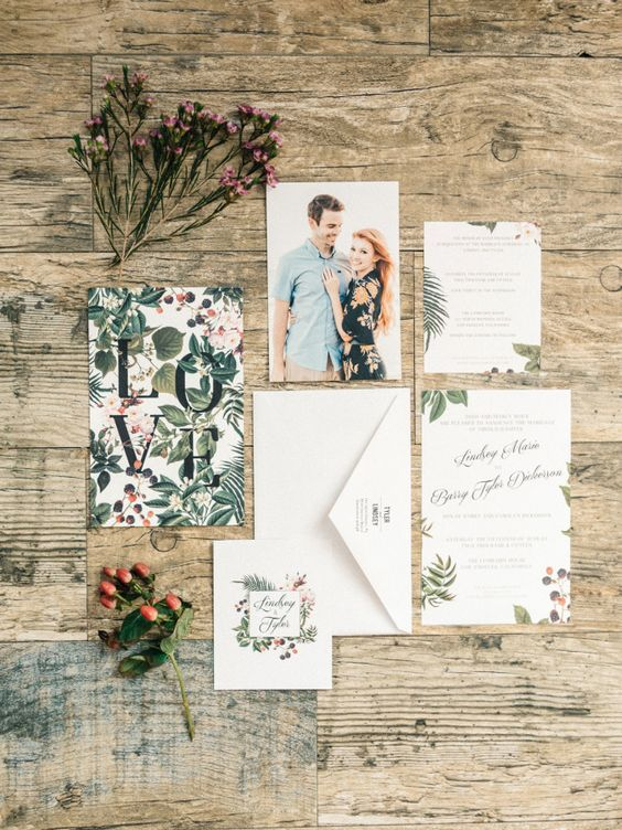 Botanical inspired wedding invitation suite: http://www.stylemepretty.com/little-black-book-blog/2016/02/11/intimate-sweet-lombardi-house-summer-wedding/ | Photography: Steve Steinhardt - http://www.stevesteinhardt.com/: