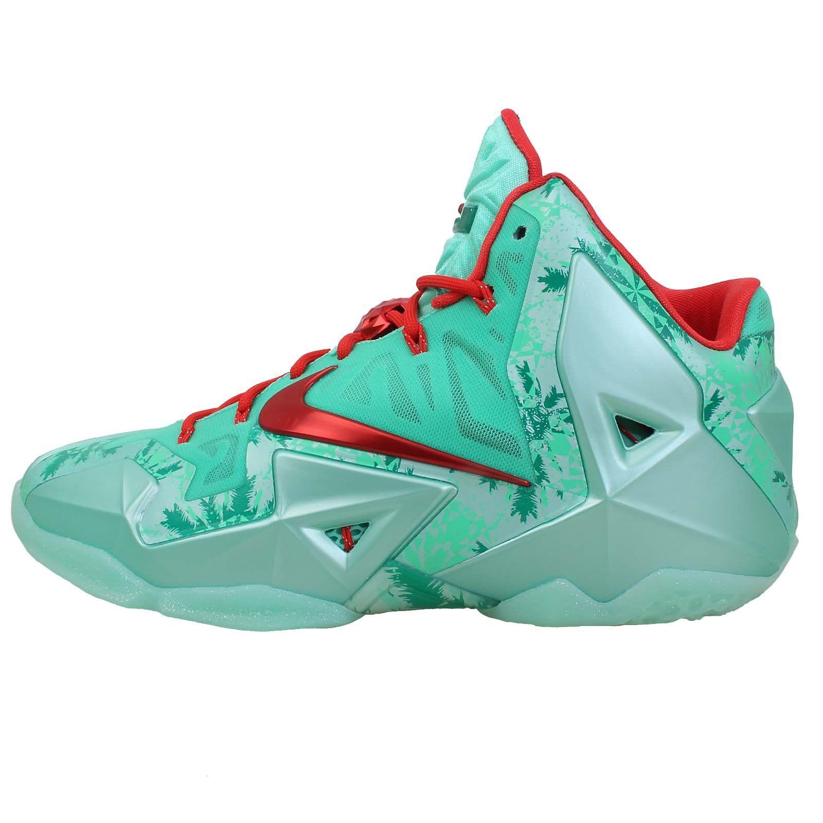 Nike Men's Lebron XI, Christmas-GREEN GLOW/LIGHT CRIMSON-ARCTC GREEN, 10 M US