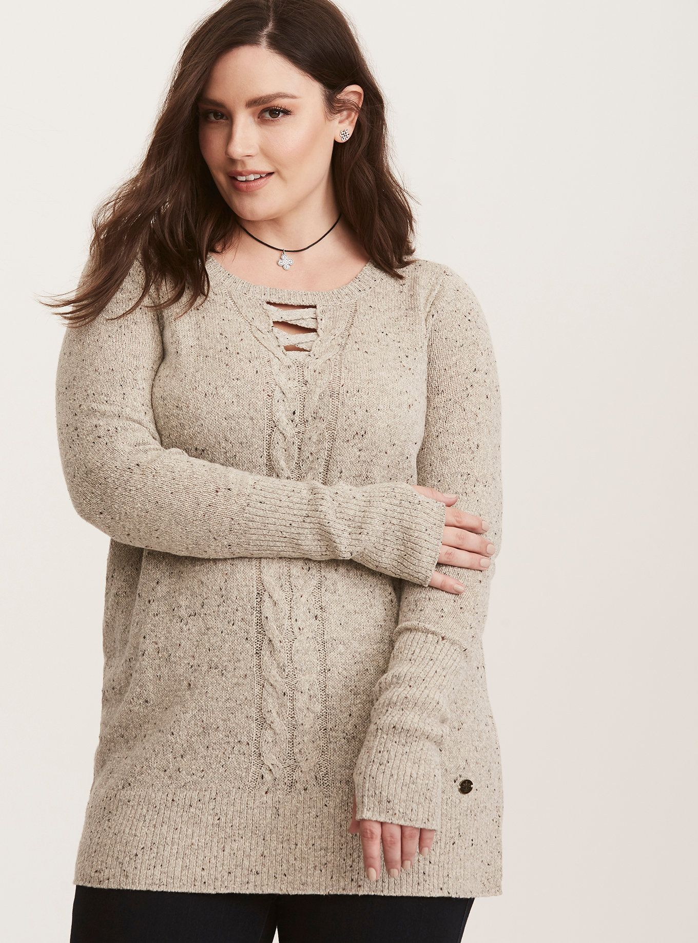 882bf60b2aba27 It s a lot easier to time-travel if you re cozy! This oatmeal marled knit  sweater gets the job done with cable knit detailing and a longer tunic  length.