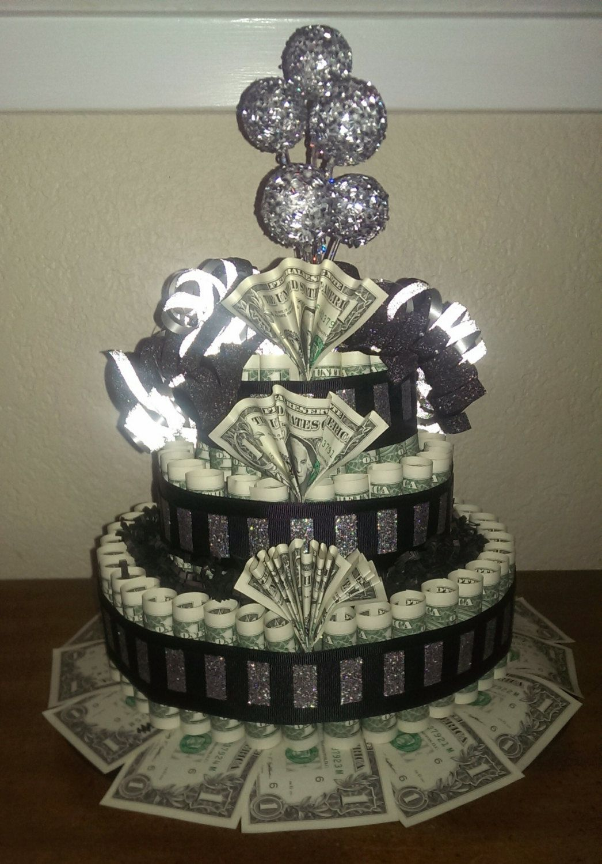 Custom Birthday Black  Silver Money Cake Gift By BabyCakesBySuziQ - Money birthday cake images