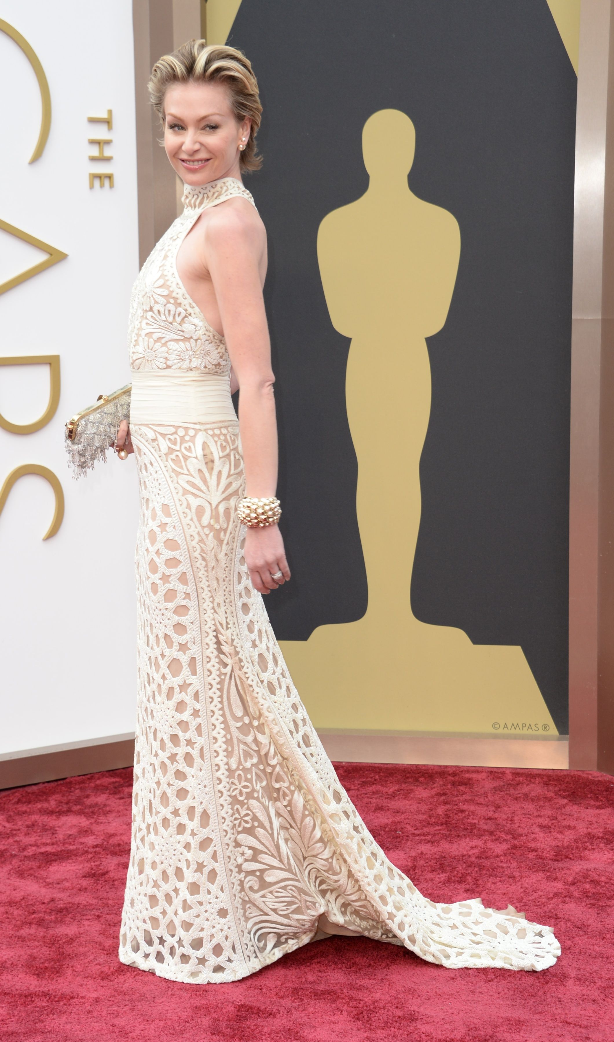 Portia de Rossi at the 2014 Oscars: Naeem Khan's halter gown was a dramatic choice for Portia de Rossi.