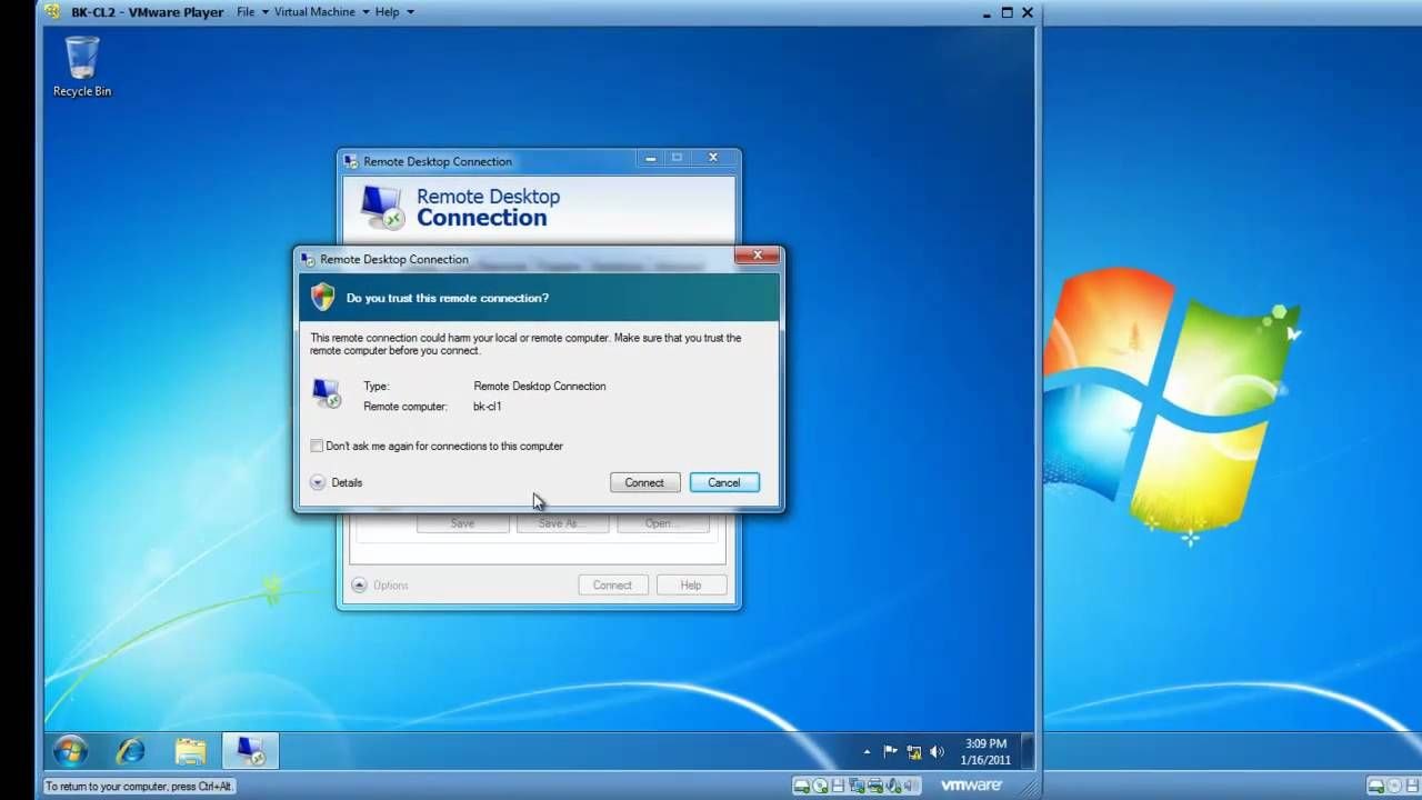 remote desktop connection windows 7 setup