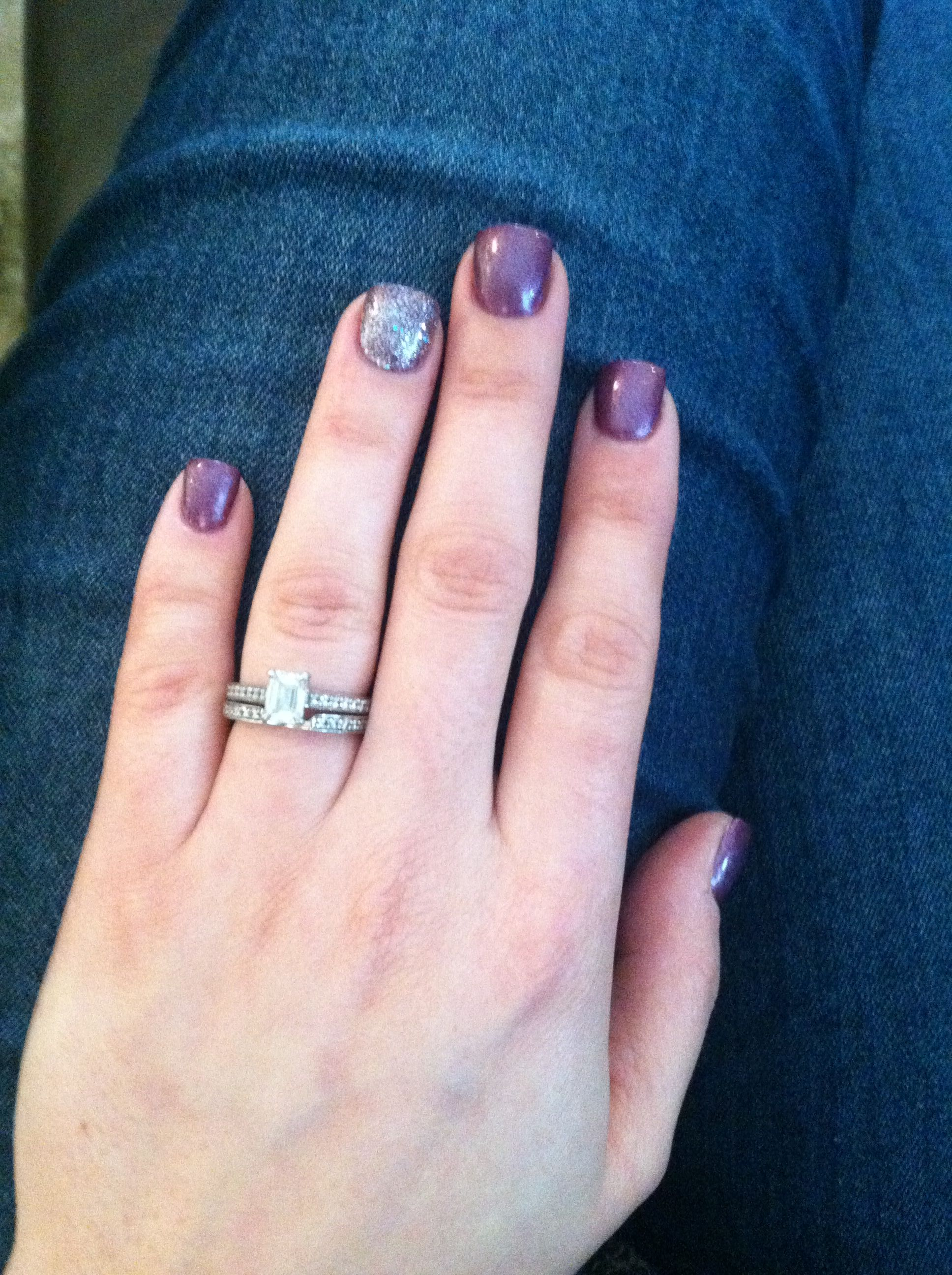 My nails this week... Purple Gel polish with silver glitter finger ...