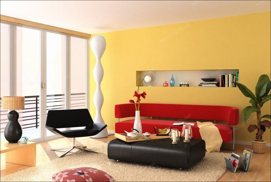 Living Room, Yellow Painted Wall Decorating Stylish Living Room ...