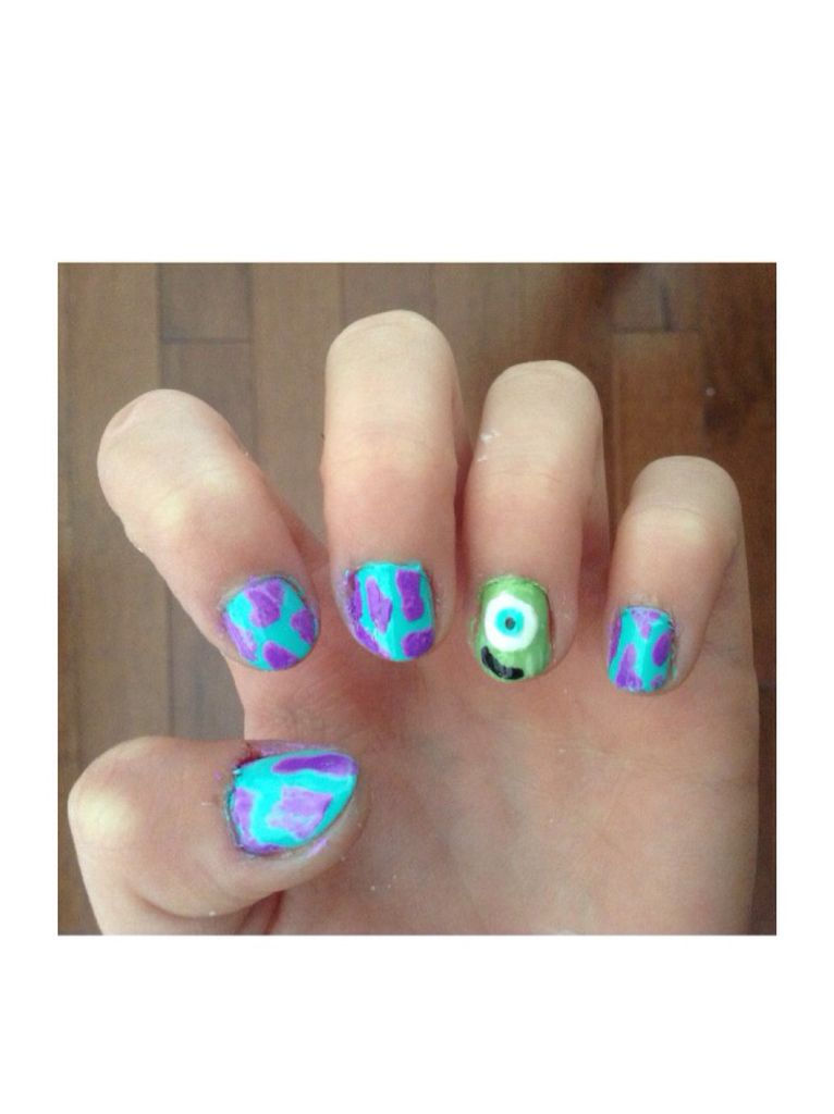 This is a really cute nail art design of monsters inc mike and this is a really cute nail art design of monsters inc mike and solly prinsesfo Choice Image
