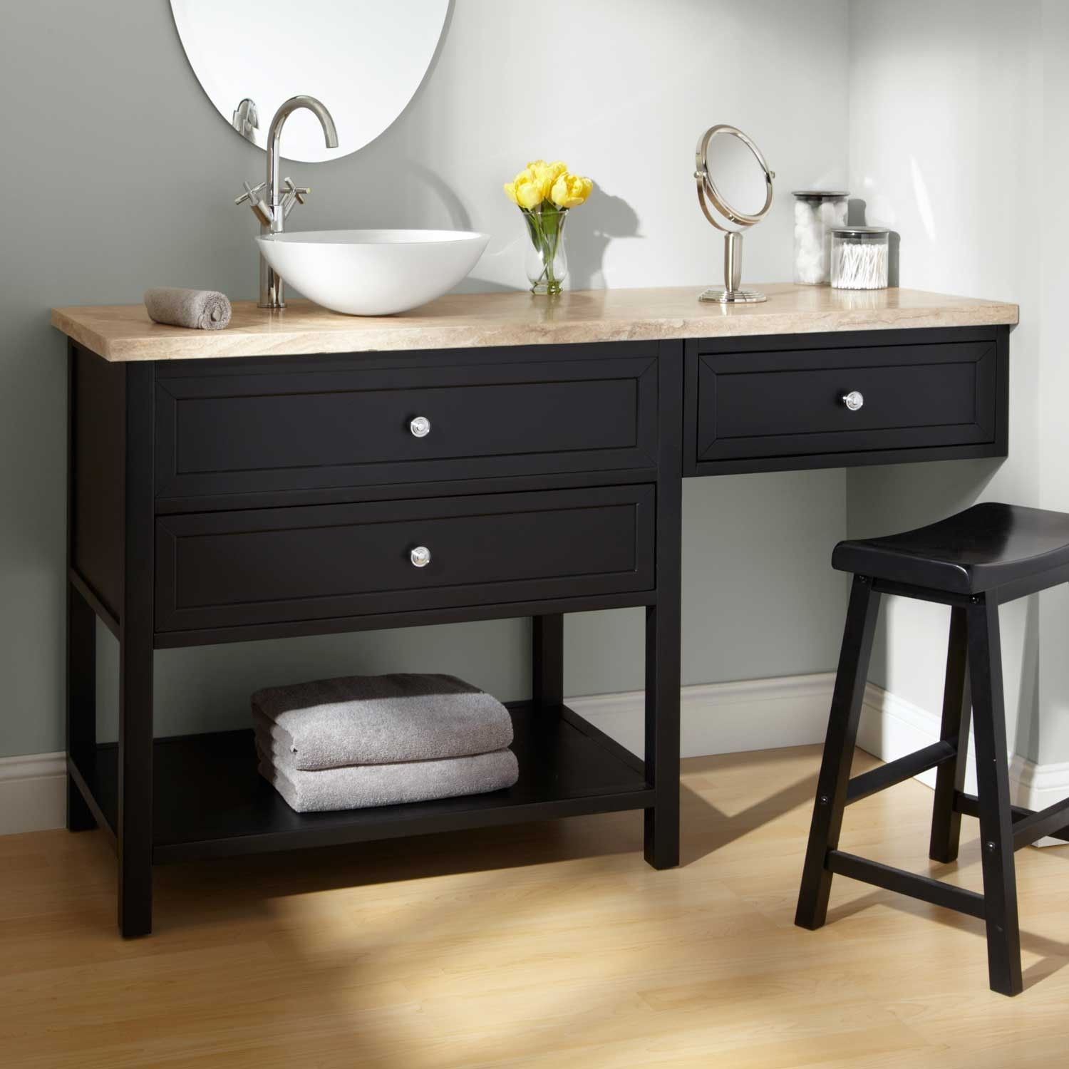 Bathroom Makeup Vanity And Chair Sink Vanities 60 Taren Black Vessel Sink Vanity With Makeup Area Small Bathroom Redo Bathroom Vanity Vanity Redo