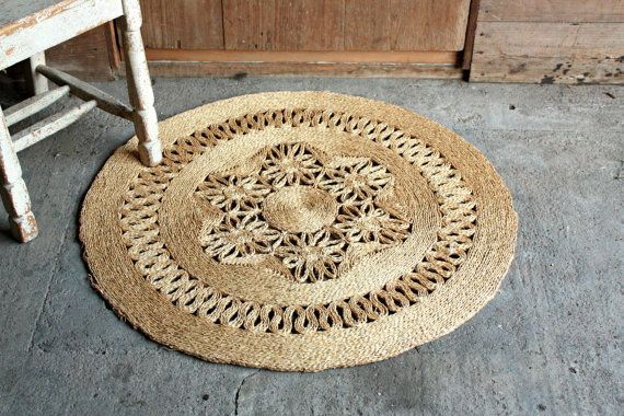 Vintage Straw Rug Woven Rug Jute Rug Round by OurVintageBungalow