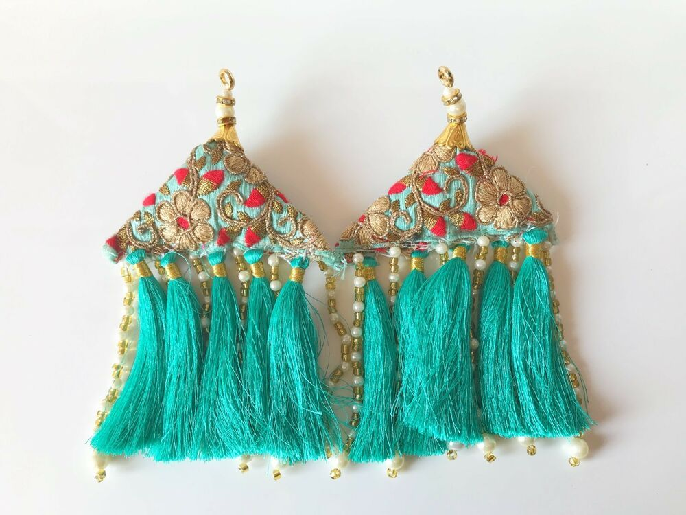 1 Pair Latest Indian Tassel Latkan Sari Blouse Accessory Duppata Suit Sewing