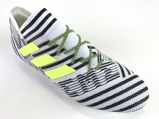 e437c06e8468 SR4U Grid Neon Yellow Black Premium Soccer Laces on adidas Nemeziz 17.1 Dust  Storm Pack