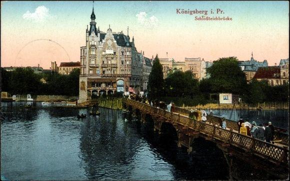 Koenigsberg East Prussia 1890 | Postcard Königsberg Ostpreußen, Schlossteichbrücke, Häuser