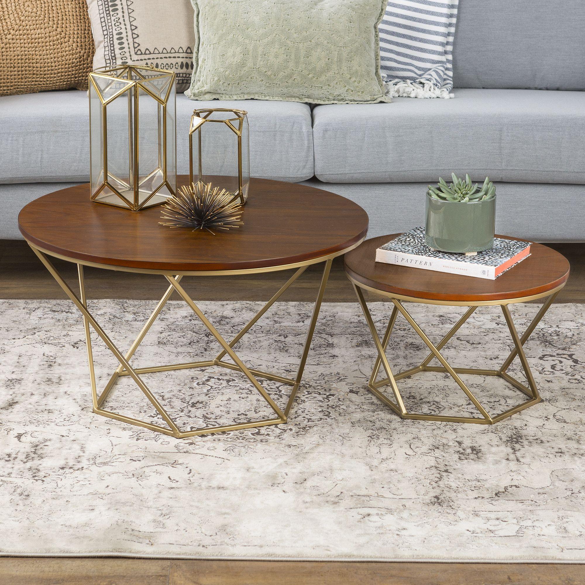 Walker Edison Modern Nesting Tables Set Of 2 Walnut Gold
