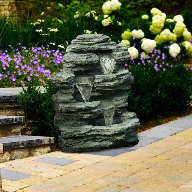 brunnen stein wasserfall schiefer optik asymmetrisch | Gartenbrunnen ...