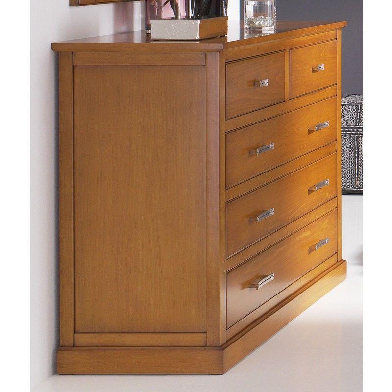 Cómoda 5 cajones madera - haya | Pinterest | Dormitorio de ...