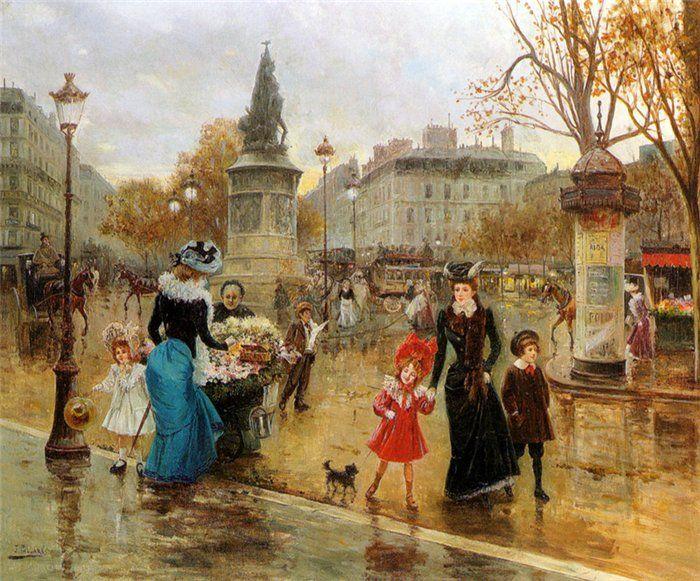 Une Place Animee a Paris, Joaquin Pallares Y Allustante (1853 – 1935, Spanish)