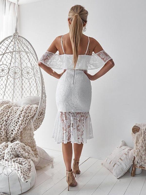 691bba7849e V-neck Sleeveless Lace Dress in 2019