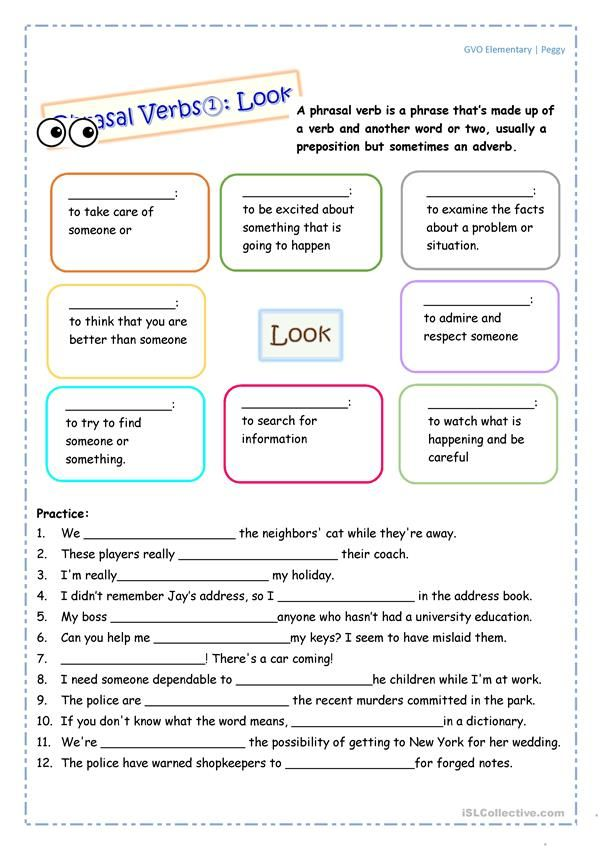Phrasal Verb: Look | ESL worksheets of the day | Pinterest