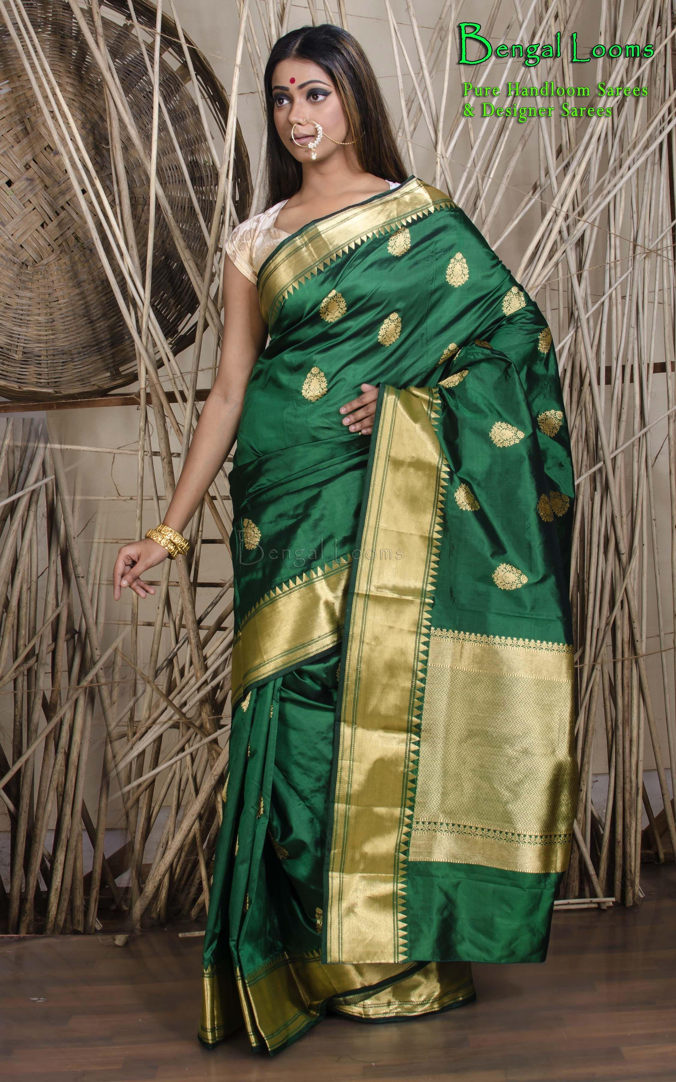 Pure Katan Silk Banarasi Saree in Bottle Green and Gold