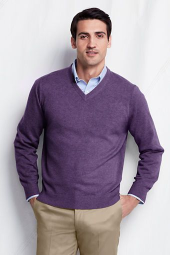 Men's Cashmere V neck Sweater from Lands' End | Long sleeve