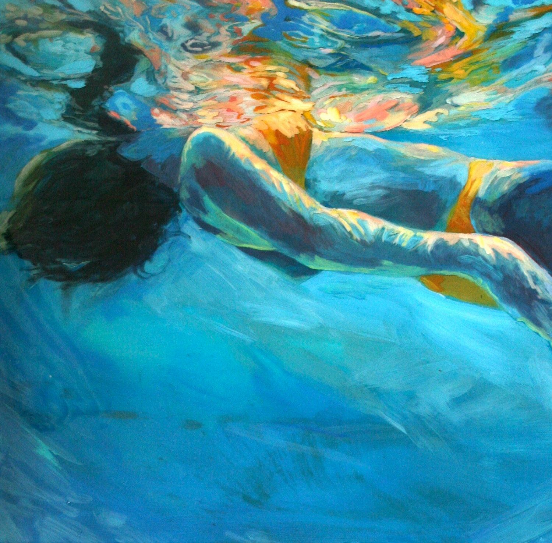 Art. Original Underwater Painting . Emma -- Comes home ...