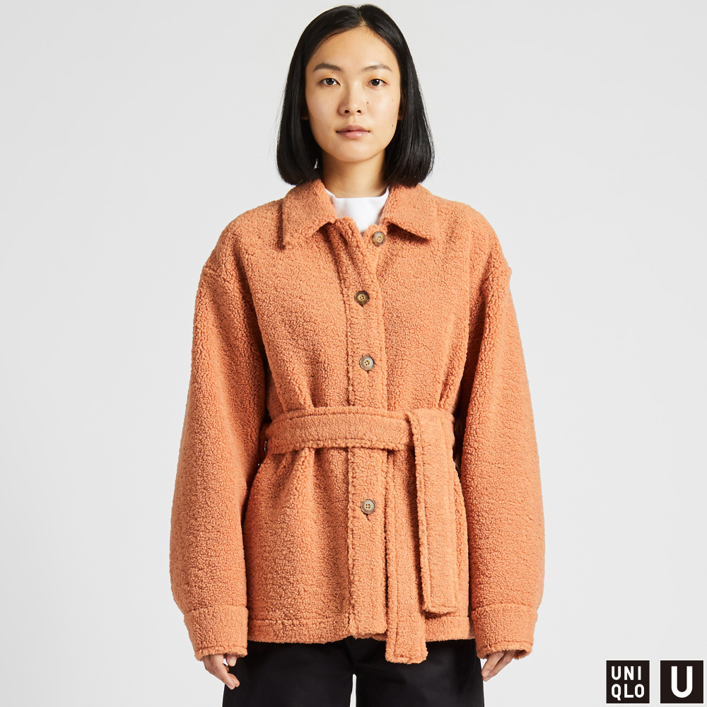 Women Uniqlo U Fleece Lined Short Coat Short Coats Women Fleece Shorts Coats Jackets Women [ 1000 x 1000 Pixel ]