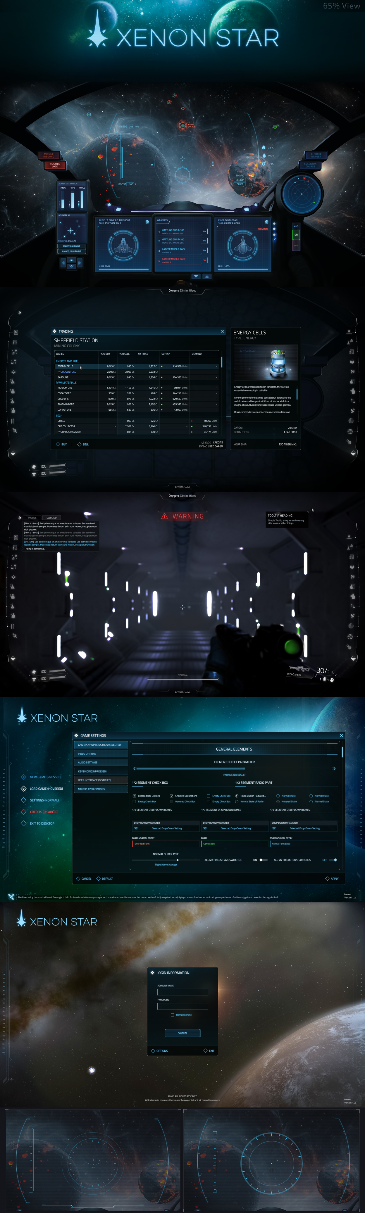 Xenon Star - Space Sim GUI, for Unity Asset Store  | My GUIs
