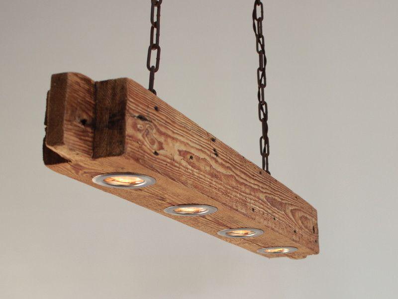 Hängelampen Hängelampe aus altem Holzbalken inkl. LEDs