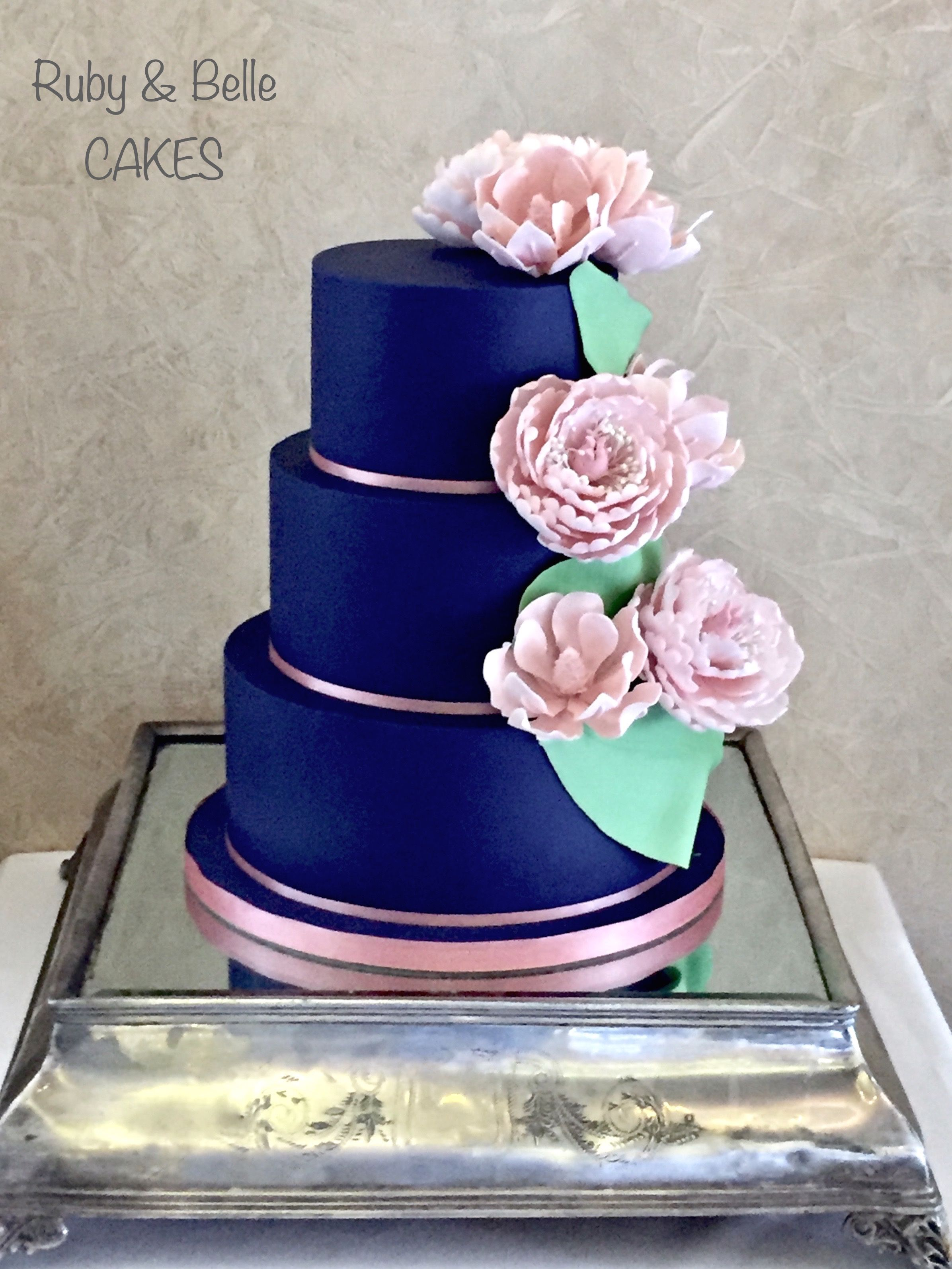 Pastel blue and pink blossoms wedding cake - Mel's Amazing ... |Pink And Blue Wedding Cakes