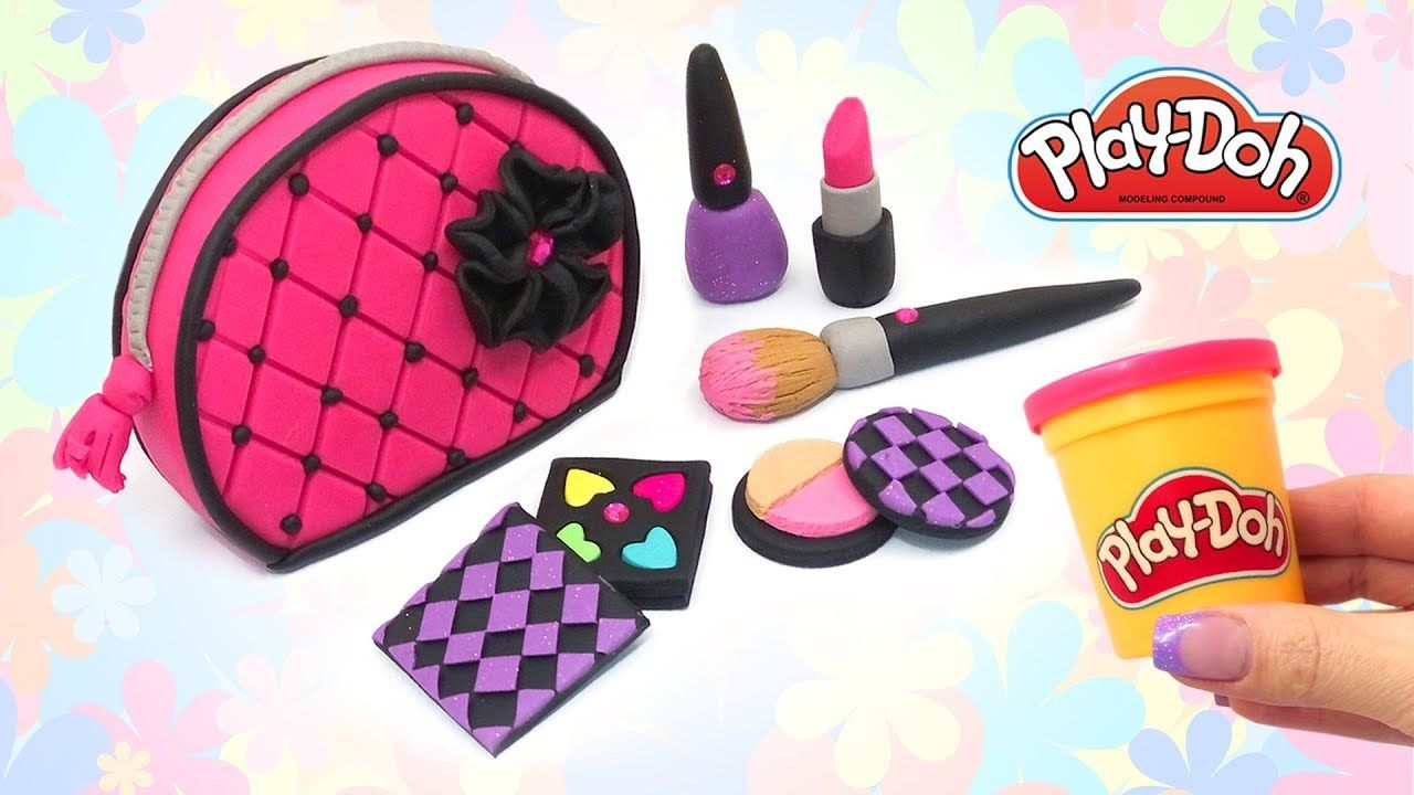 Play Doh Cosmetics Set for Dolls. How to Make Makeup Bag