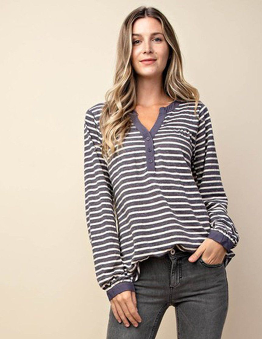 0f16a847f0c39f Striped blue   white Henley top featuring long sleeves