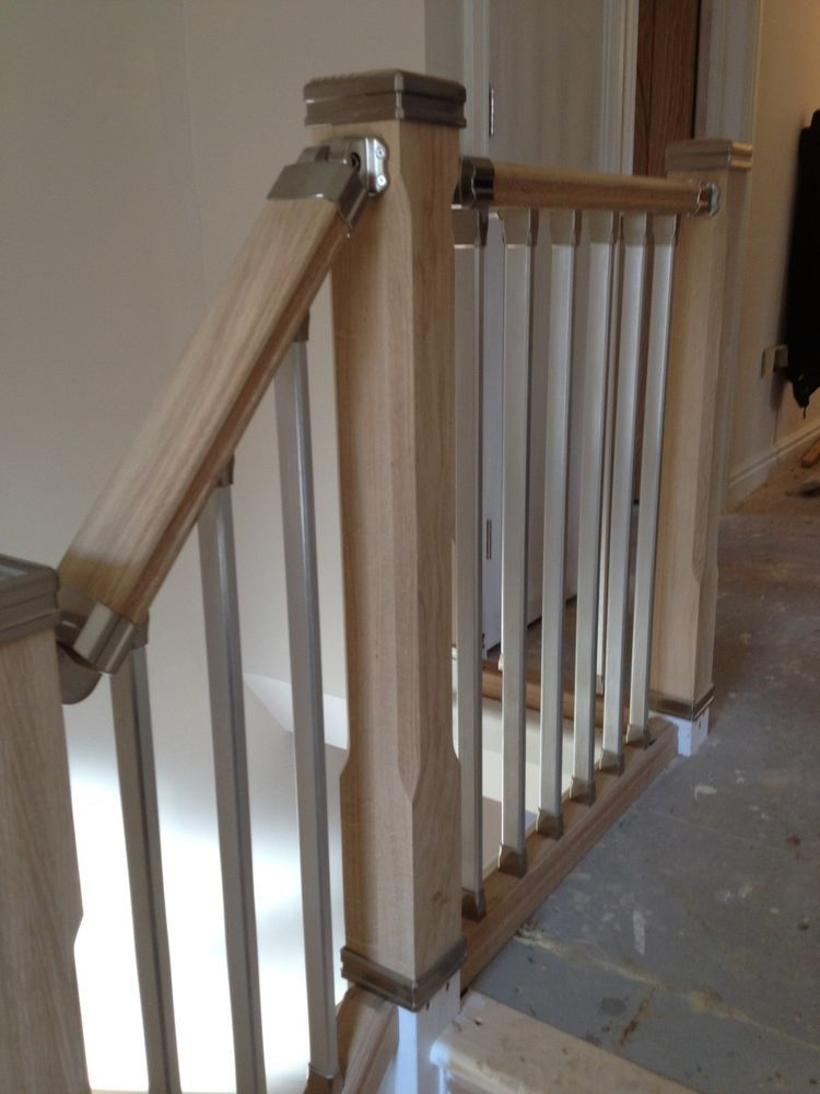 Staircase Solution Stair Parts, Refurbish Landing Kit, Chrome Or Brushed  Metal