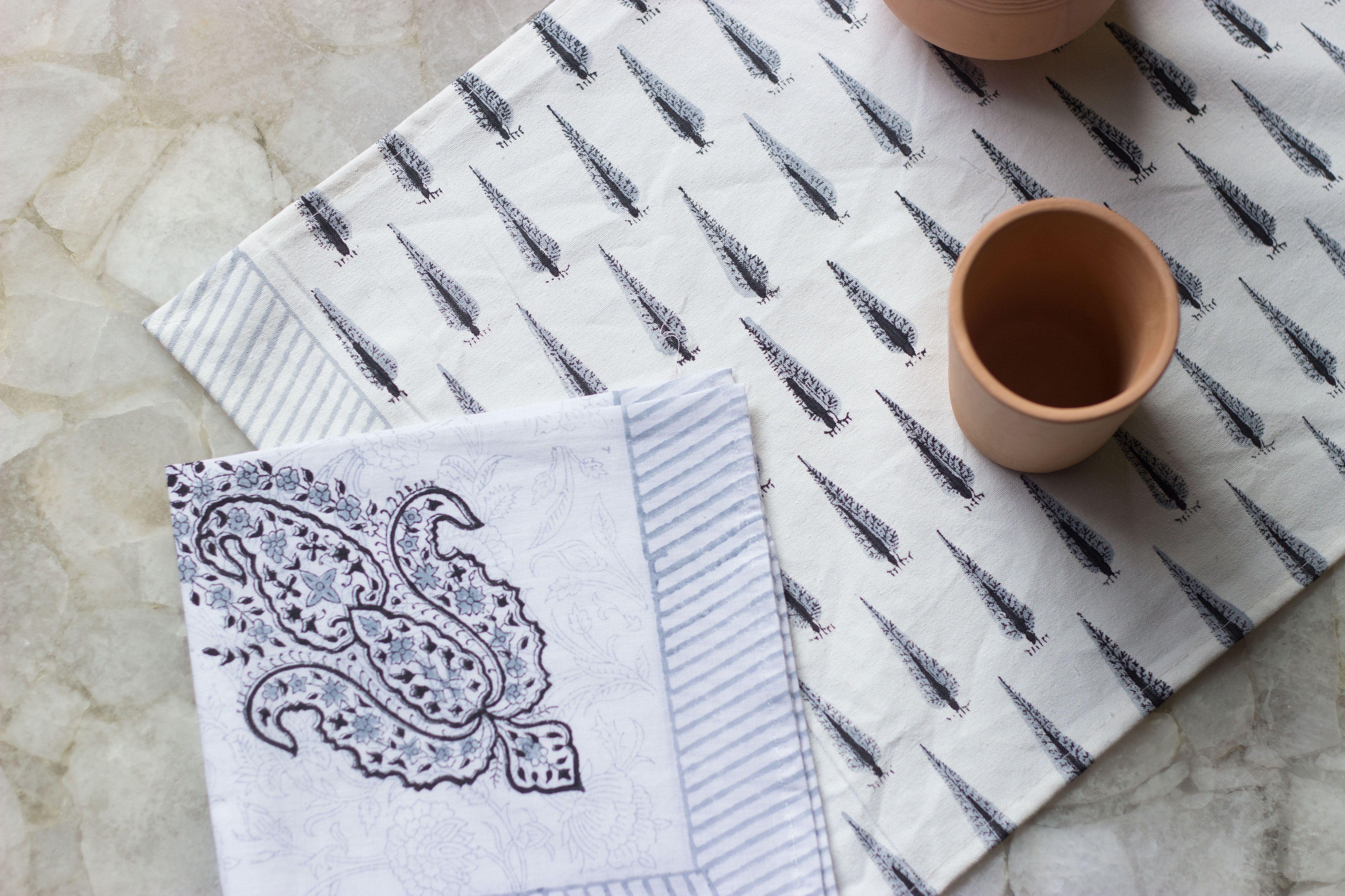 Indian Hand Block-Printed Napkins Set of 6