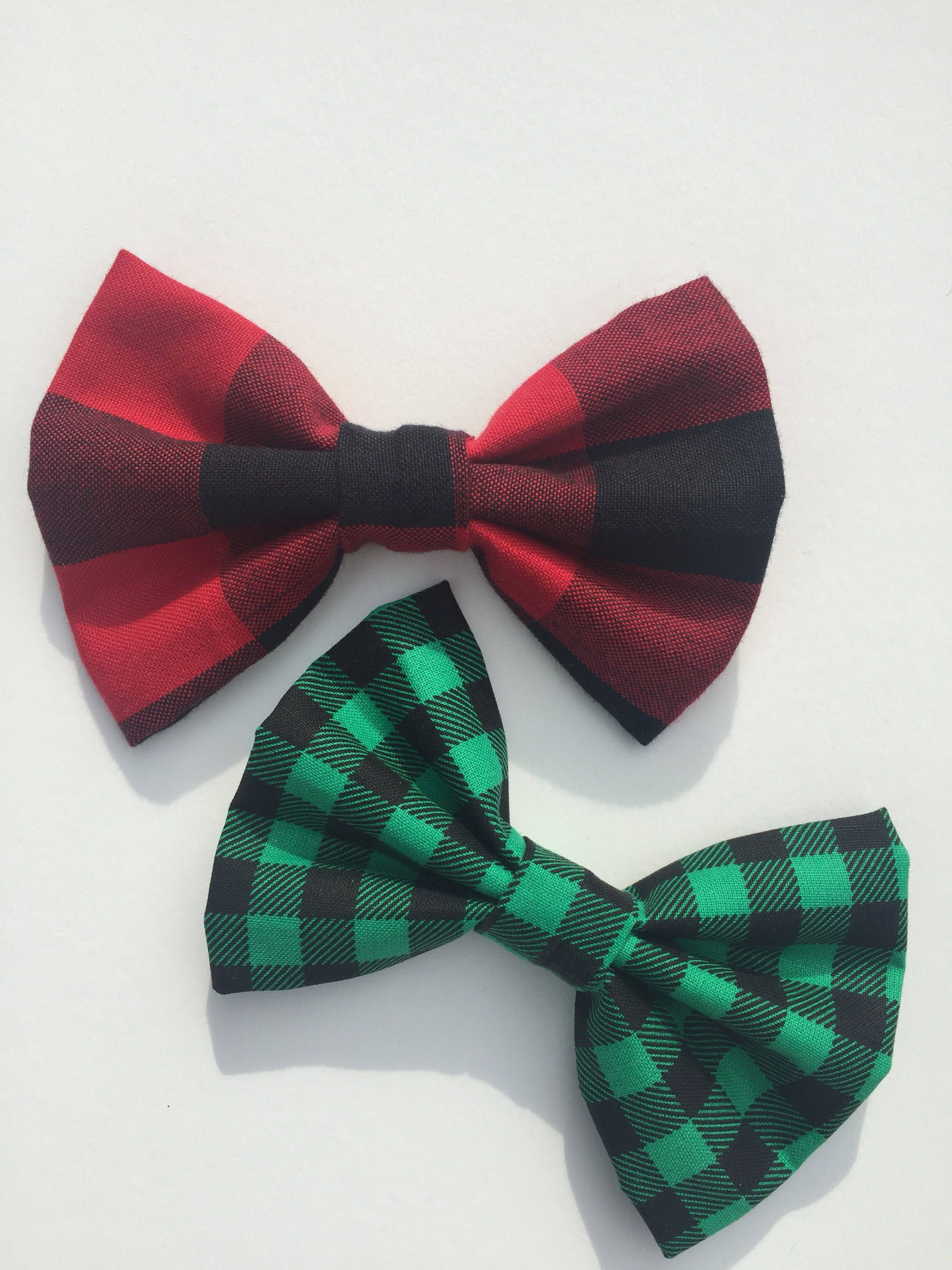 d105c9b264b Kid's Christmas Clip On Bow Ties, Holiday Hair Bows, Red & green plaid,  Mens Bow Tie, Toddler Bows, Buffalo Plaid, Girls bows by PolkaDotThreads on  Etsy