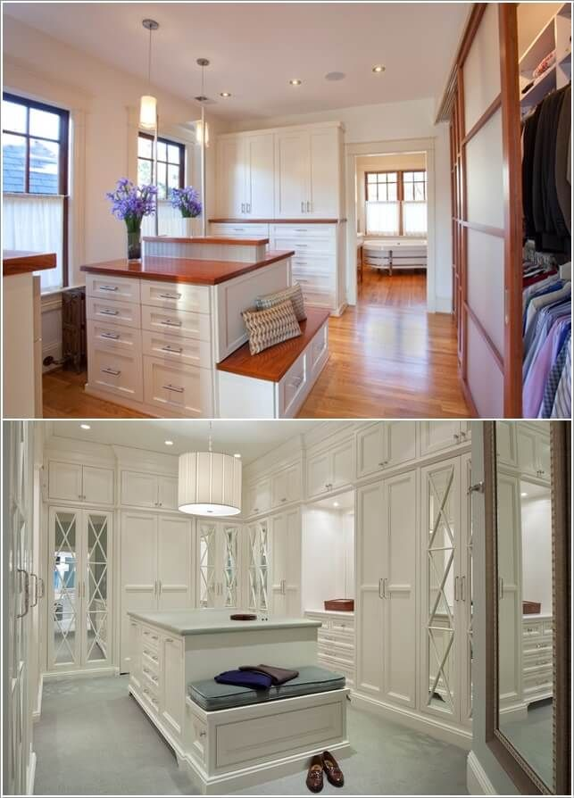 Ideas Of Functional And Practical Walk In Closet For Home: If Your Closet Has An Island Extend It Into A Seating