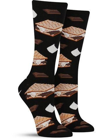 S'more Socks | Womens Ooey, gooey and oh-so-sweet ... mmm, s'mores! So irresistible that you can't have just one, the aptly named treats on these cool s'mores socks are likely to make your mouth water. Just try not to getOoey, gooey and oh-so-sweet ... mmm, s'mores! So irresistible that you can't have just one, the aptly named treats on these cool s'mores socks are li...