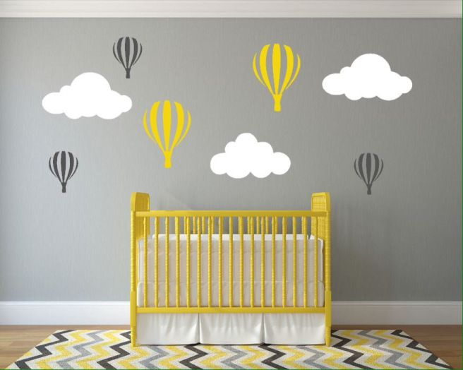 Hot air balloon yellow and grey wall decals