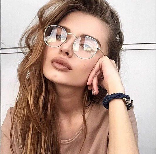 083c1620ed6 2018 New Designer Woman Glasses Optical Frames Metal Round Glasses Frame  Clear Lens Eyeware Black Silver Gold Eye Glass