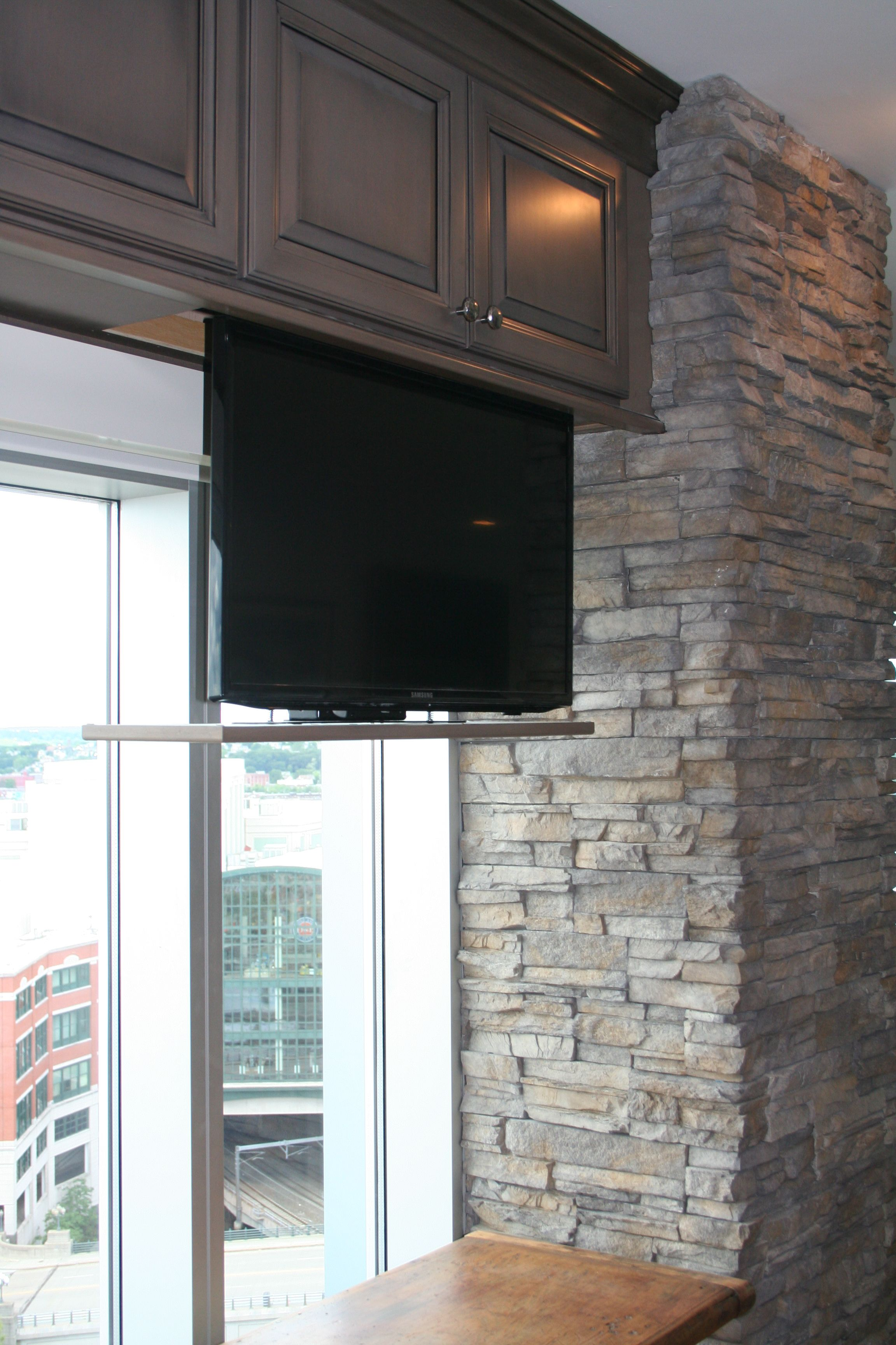 Hidden tv in kitchen cabinet rhodeislandkitchen details for Small wall mounted tv for kitchen