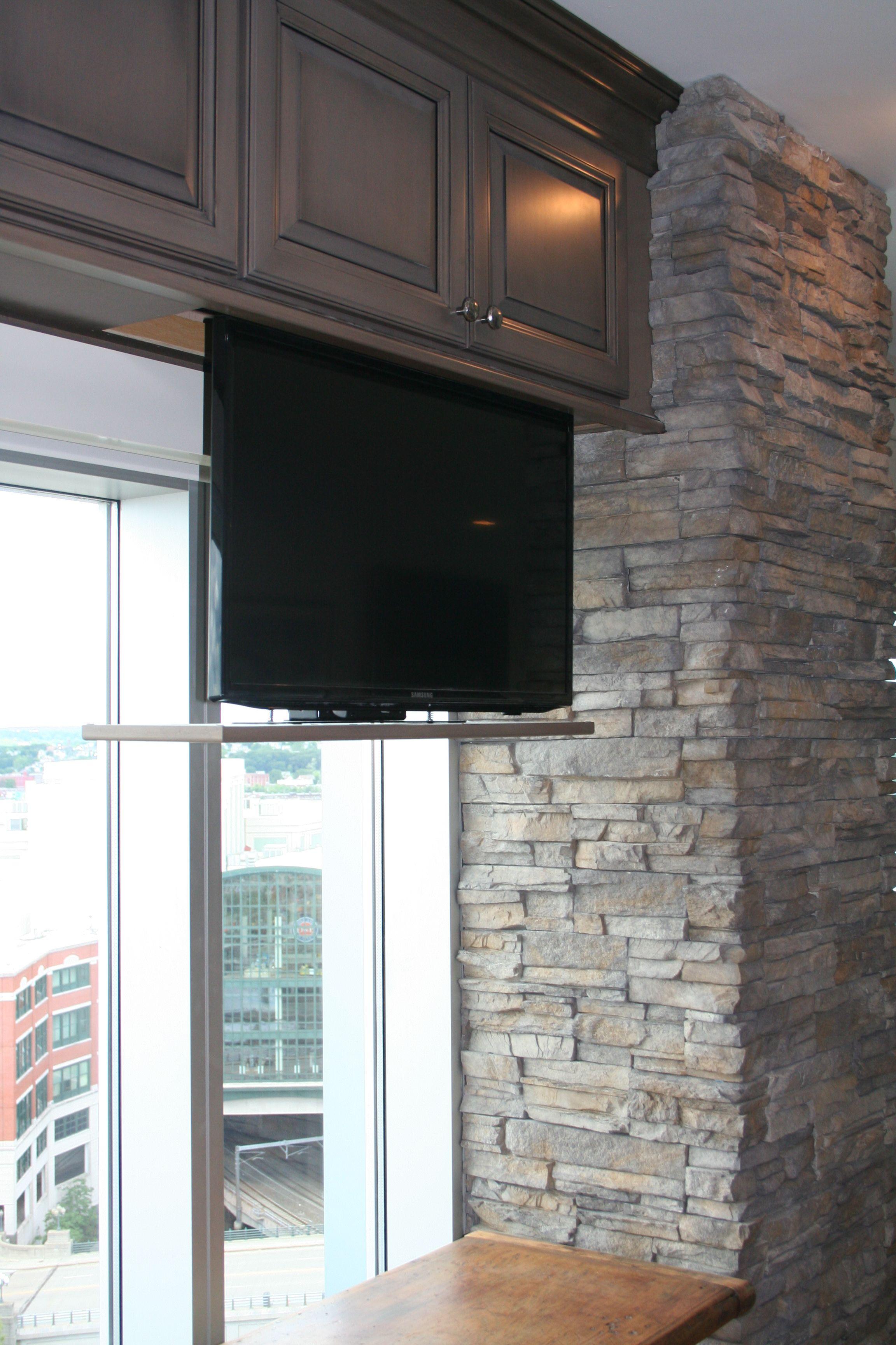 Hidden TV In Kitchen Cabinet #RhodeIslandkitchen Home Inspiration
