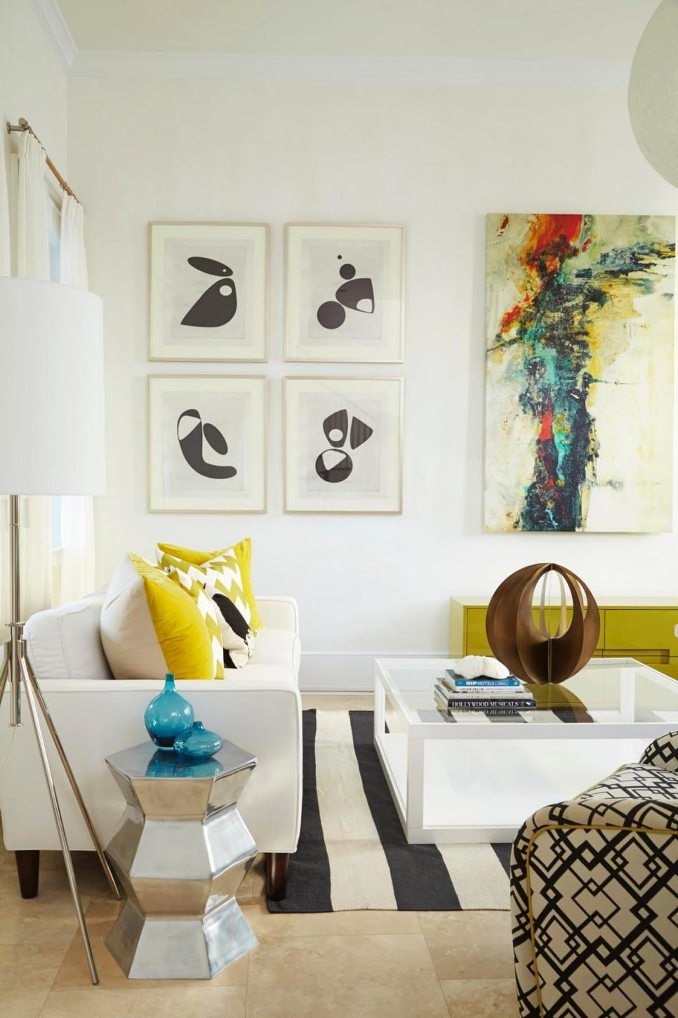 Incorporating bold abstract art and large-scale geometric patterns ...