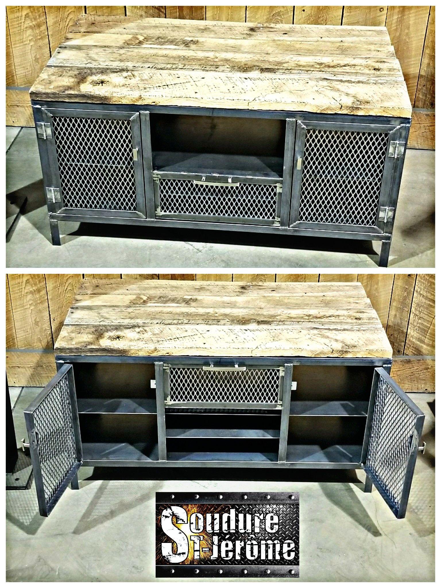 Meuble De Tele Industriel Dessus En Bois Porte Grillagee Porte Coulissante Haut Bas Storage Bench Home Decor Furniture