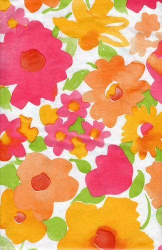 Floral Flowers Orange Yellow Leaf Leaves Green VINYL Tablecloth 52 X 52  Square