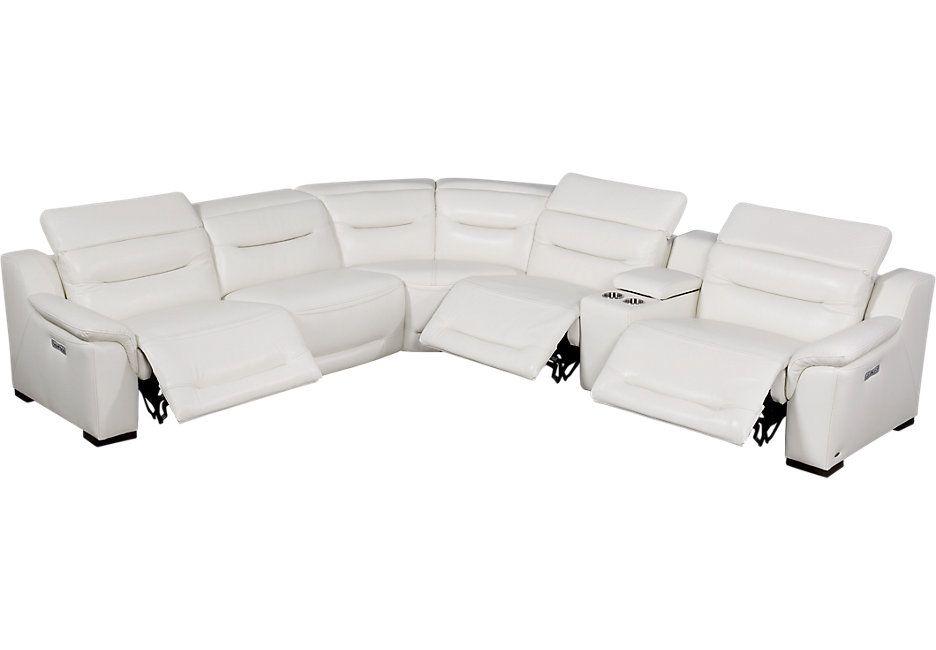 Sofia Vergara Gallia White Leather 6 Pc Power Plus Reclining Sectional 2977 0 126 5w X 14 Reclining Sectional Leather Reclining Sectional Living Room Leather
