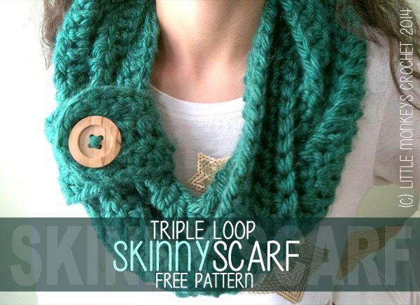 Triple Loop Skinny Scarf Free Pattern Crochet Scarves Free